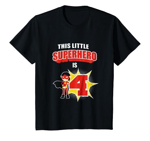 6c28a6964 Amazon.com: Kids 4th Birthday Girls Superhero T-Shirt Comic Book 4 ...