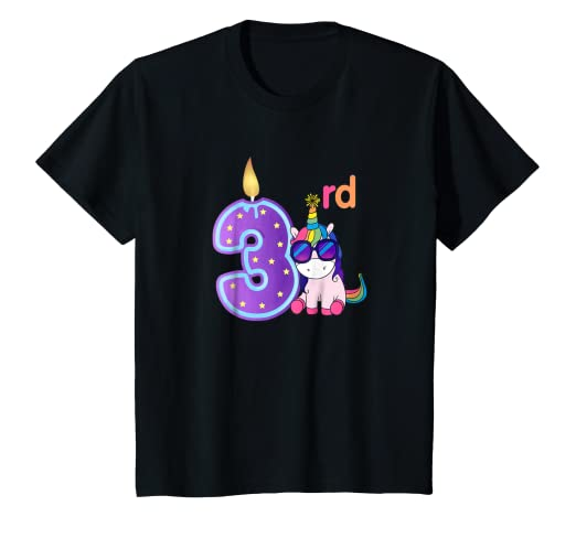 Kids 3 Years Old 3rd Birthday Unicorn Shirt Girl Daughter Gift
