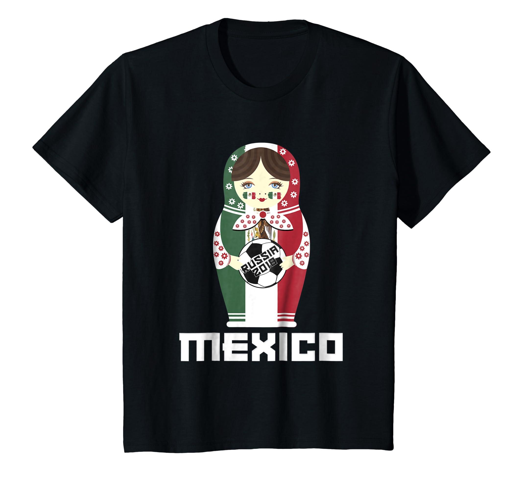 1b76f57392d Amazon.com: Mexico National Flag Dressed Matryoshka Soccer Fan Shirt:  Clothing