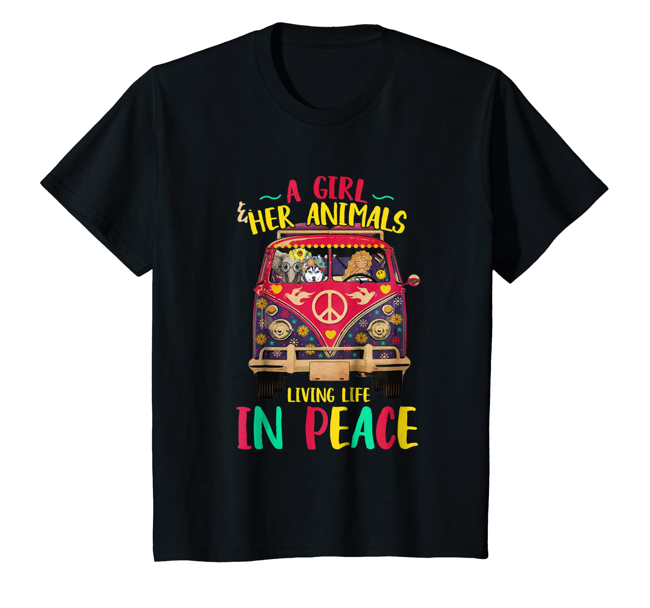 A Girl And Her Animals Living Life In Peace Funny T Shirt