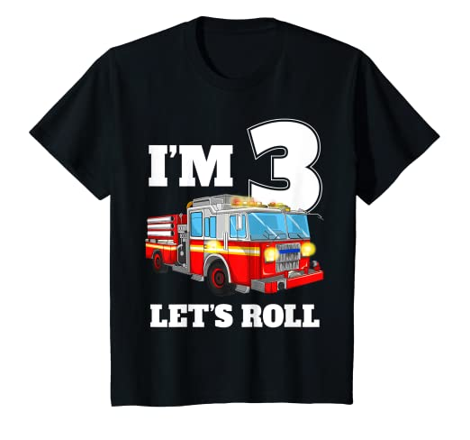 287b1a421 Image Unavailable. Image not available for. Color: Kids Fire Truck 3rd  Birthday T Shirt ...