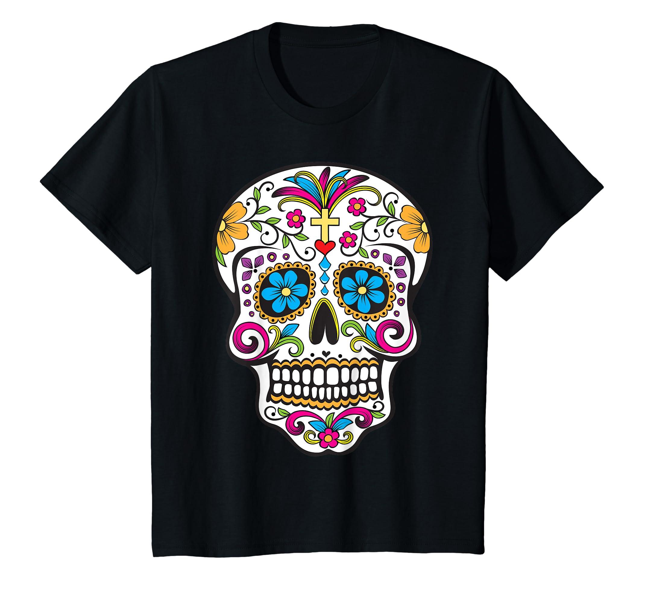 9163fc9e Amazon.com: Day of the Dead Sugar Skull T-Shirt: Clothing