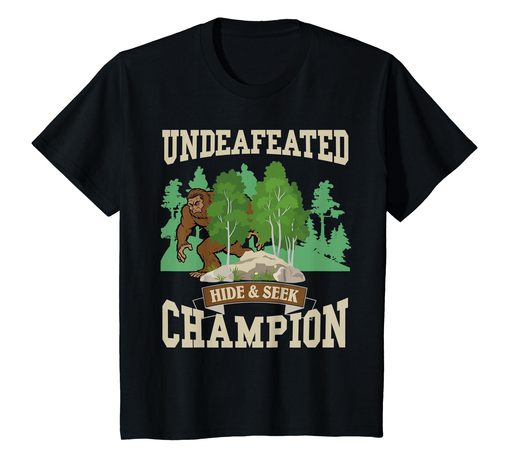 42fd1bc4 Amazon.com: Funny Bigfoot Yeti Undefeated Hide & Seek Champion T-Shirt:  Clothing