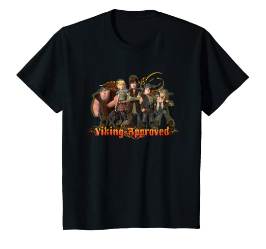 09cc3e66ae6 Amazon.com: Kids DreamWorks' Dragons: Viking Approved T-Shirt: Clothing