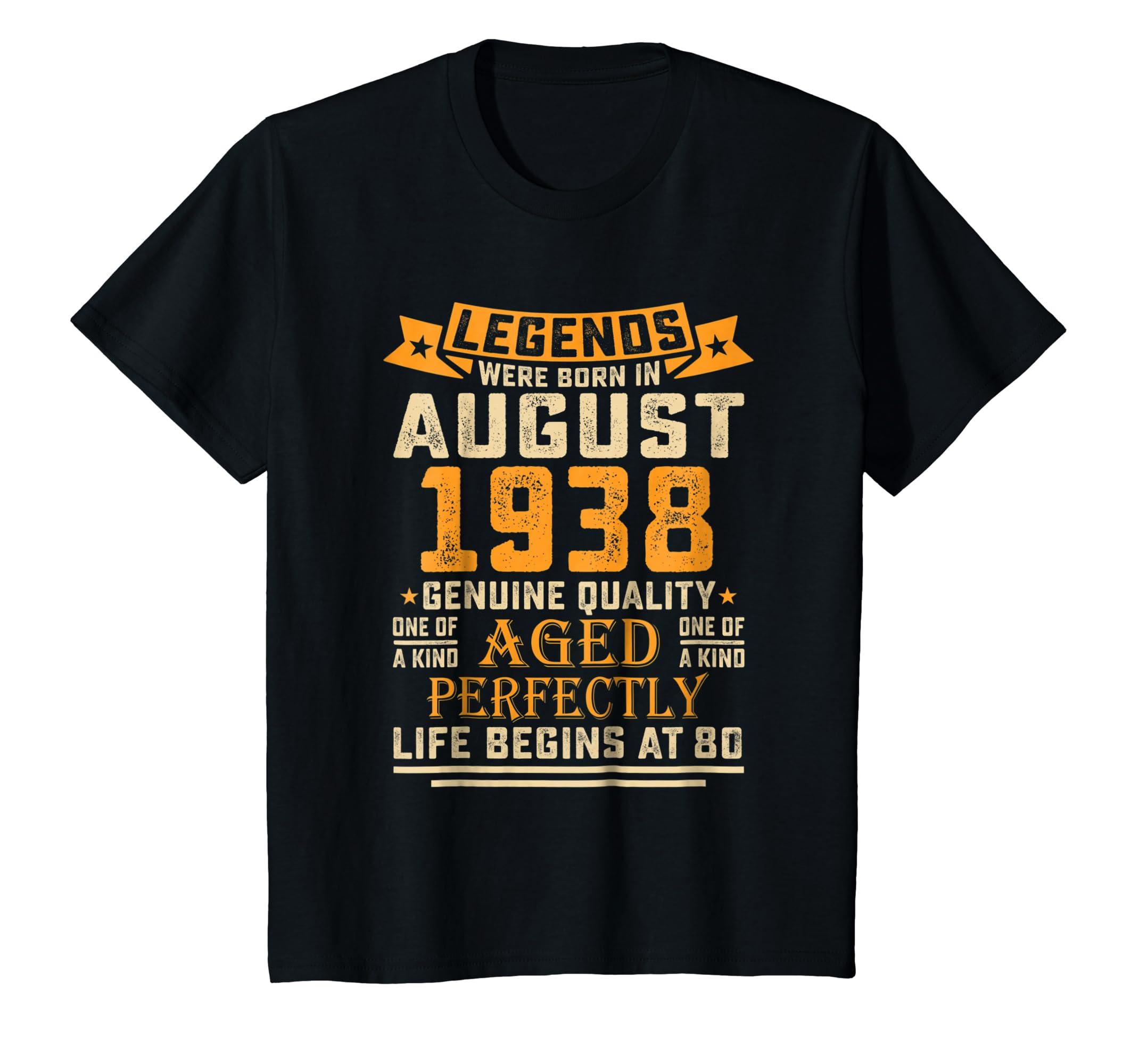 80th Birthday Gifts TShirt Vintage Legends Were Born In 1938-Awarplus