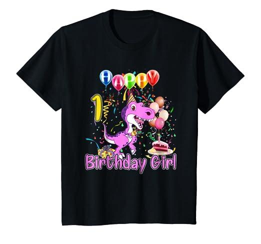 Kids 1 Years Old 1st Birthday Dinosaur Shirt Girl Daughter Gift P