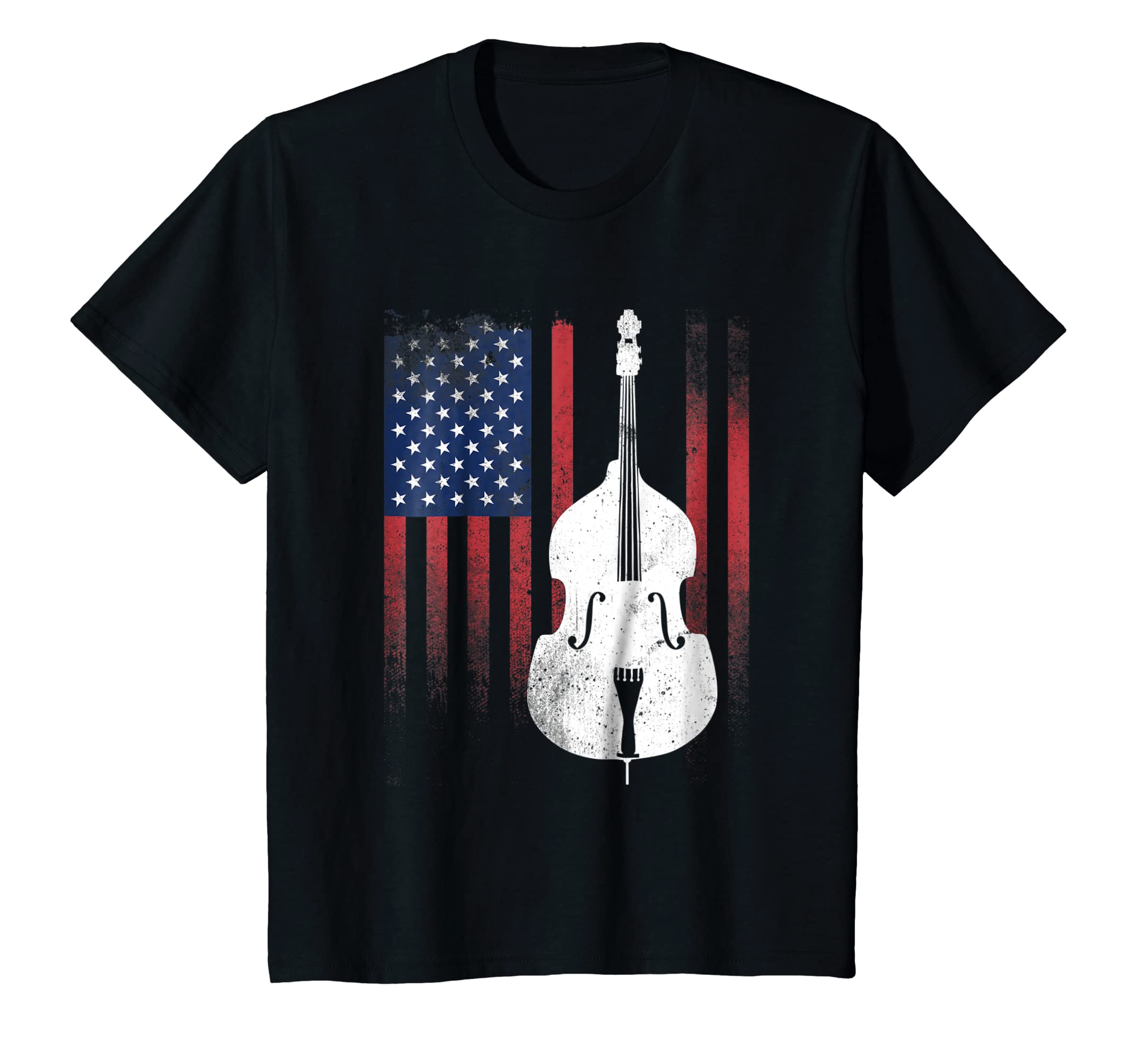 Retro Distressed Double Bass Shirt American Flag T Shirt-Awarplus