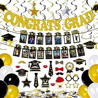 Geefuun 72 PCS Graduation Decorations Party Supplies 2021 - Congrats Grad Banner Photo Garland Hanging Swirls Balloons Pho...