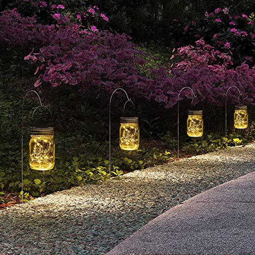 GIGALUMI Hanging Solar Mason Jar Lights, 6 Pack 30 Led String Fairy lights Solar Lanterns Table Lights, 6 Hangers and...