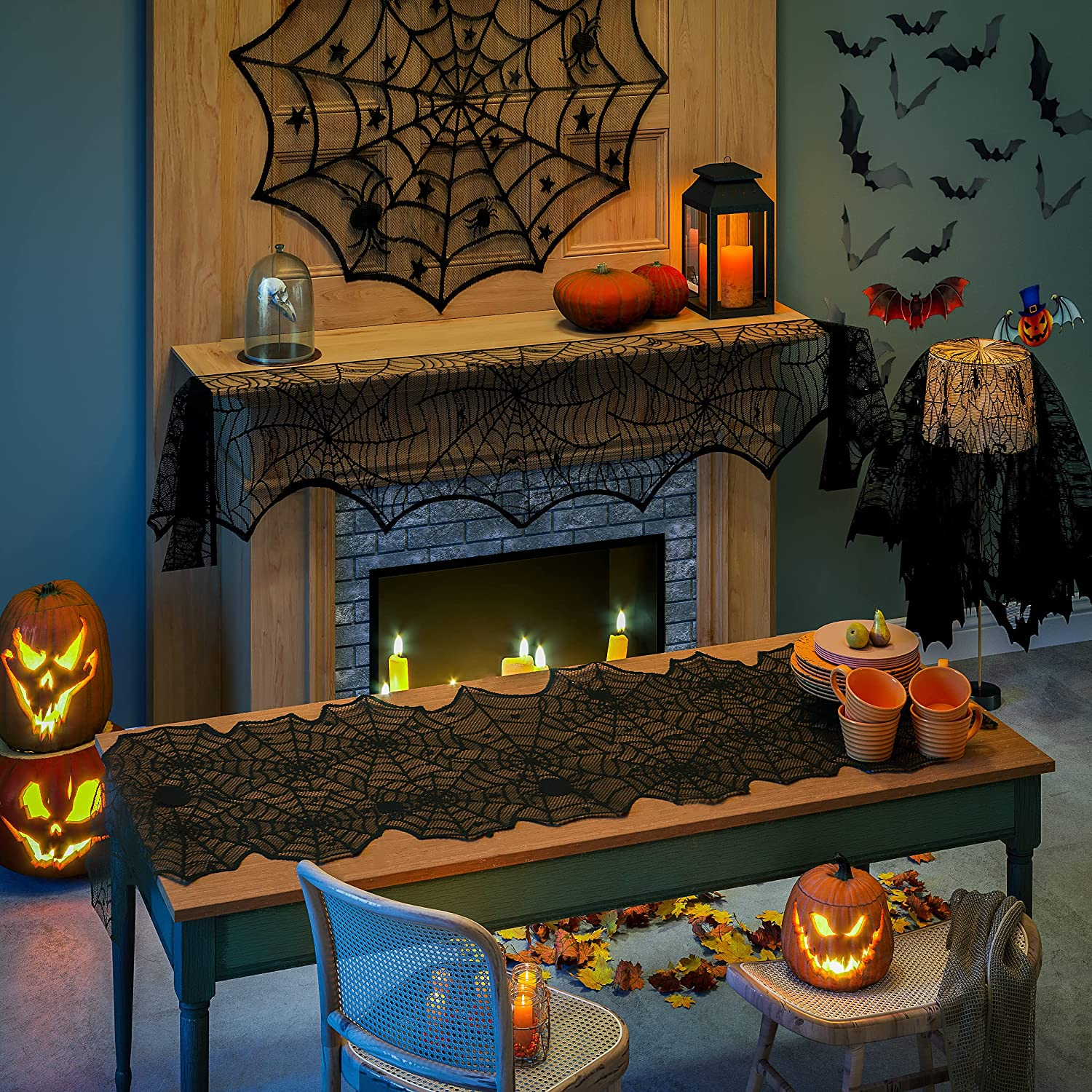 Blivalley 5 Pack Halloween Decorations Sets Indoor Halloween Spider Fireplace Mantel Scarf & Round Table Cover & Lace Table Runner & Cobweb Lampshade Halloween Decor with 60 pcs Scary 3D Bat