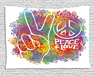 Ambesonne 70s Party Tapestry, Hippie Peace and Love and Signs 2 Fingers Pacifist Colorful Design Art, Wide Wall Hanging for Bedroom Living Room Dorm, 80