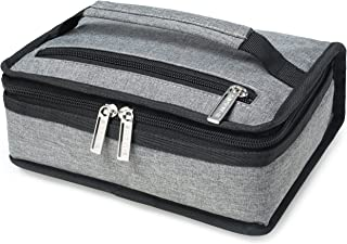 E-MANIS Insulated Lunch Bag Adult lunch box Collapsible Multi-Layers Thermal Insulated Oxford Lunch Tote cooler bag for men, women (grey)