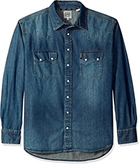 Men's Classic Fit Long Sleeve Snap Two Sawtooth Flap Pocket Shirt