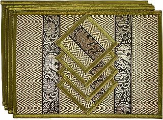 CCcollections Pack de 4 Set de Table et Dessous de Verre Assortis. hoice of 2 Handmade Wicker with Reed with a Luxury Edge...