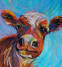 Happy Cow Open Edition Whimsical Giclee Print of Original Pastel on canvas!