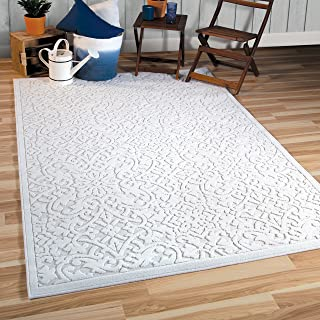 """Orian Rugs Boucle Collection 397086 Indoor/Outdoor High-Low Biscay Area Rug, 7'9"""" x 10'10"""", Natural Ivory"""