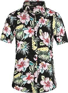 Women's Floral Button Down Causal Short Sleeve Aloha Hawaiian Shirt