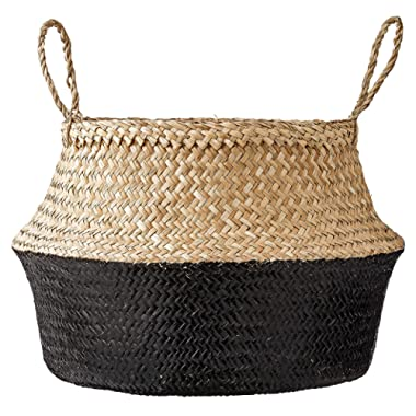 Bloomingville Round Natural Seagrass Basket with Handles, 19.5 Inch, Natural & Black