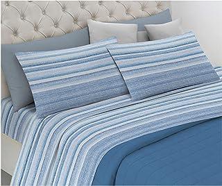 HomeLife Parure de lit 1 place en pur coton fabriquée en Italie, avec taie d'oreiller à rayures, drap de dessus 160 x 290 ...