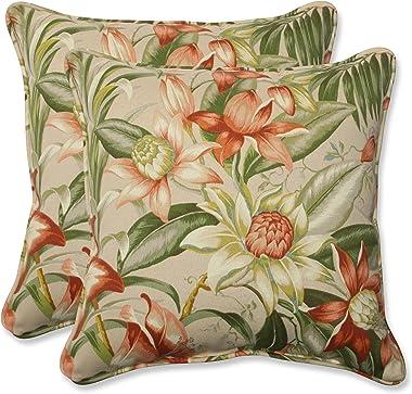"Pillow Perfect Outdoor/Indoor Botanical Glow Tiger Stripe Throw Pillows, 18.5"" x 18.5"", Floral 2 Pack"