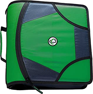 Case-it King Sized Zip Tab 4-Inch D-Ring Zipper Binder with 5-Tab File Folder, Kelly Green, D-186-KGRE