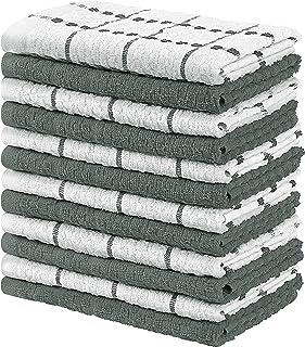 Utopia Towels - 12 Torchons de Cuisine - Serviettes de Cuisine 100% Coton - Lavable en Machine (38 x 64 cm) (Gris et Blanc)