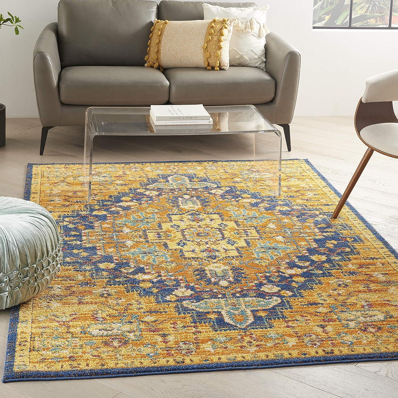 Nourison Allur Bordered 定番スタイル Orange Multicolor 5' x 5'3 Rug 7' 送料無料でお届けします Area