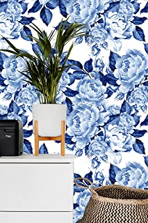 Removable Wallpaper Mural Peel & Stick Peonies Flowers Chinoiserie Style Blue (75