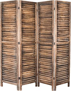 MyGift 4-Panel Rustic Brown Wood Louvered Room Divider with Dual-Action Hinges
