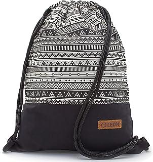 By Bers LEON Turnbeutel mit Innentaschen in Schwarz-Weiß Rucksack Tasche Damen Herren & Teenager Gym Bag Draw String Indio2_SW