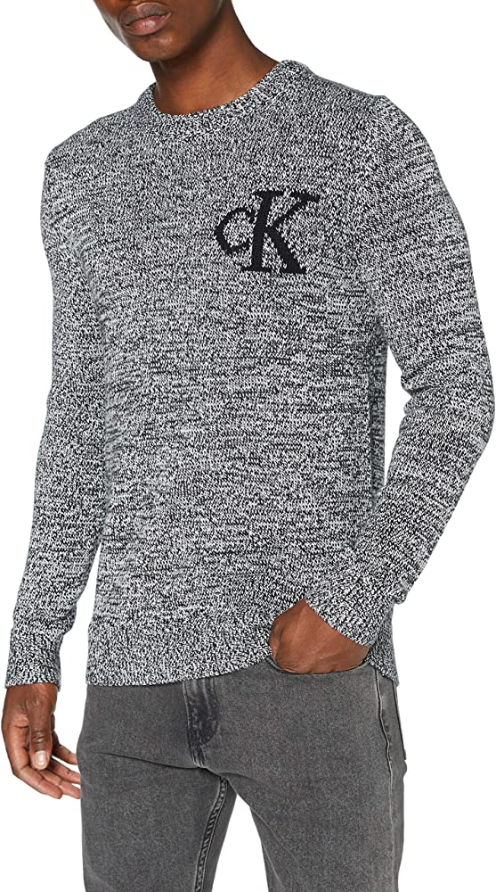 Calvin klein, twisted yarn ck logo sweater maglione uomo,maglione in cotone mÉlange e lana J30J316592