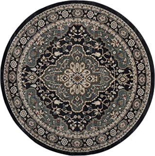 Safavieh Lyndhurst Collection LNH338C Oriental Anthracite and Teal Round Area Rug (7' Diameter)