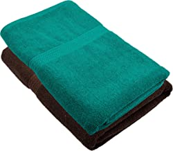 Fresh From Loom Towel for Bath 450 GSM 2 Piece Cotton Bath Ttowel for Men and Women Classic Size Fabric - Coffee and Green
