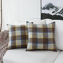 HOME BRILLIANT 2 Pack Decorative Throw Pillows Covers Checkered Plaids Cotton Linen Farmhouse Rustic Retro Pillow Covers C...
