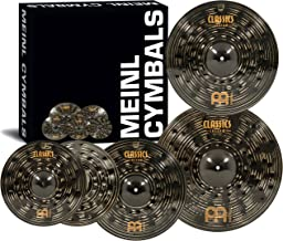 """Meinl Cymbal Set Box Pack with 14"""" Hihats, 20"""" Ride, 16"""" Crash, Plus a FREE 18"""" Crash – Classics Custom Dark – Made In Germany, TWO-YEAR WARRANY (CCD460+18)"""
