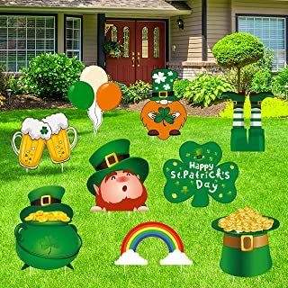 Geefuun St. Patrick's Day Yard Sign Decorations - Leprechaun/Shamrock/Irish Saint Patty's Day Lawn Outdoor Decor with Stakes
