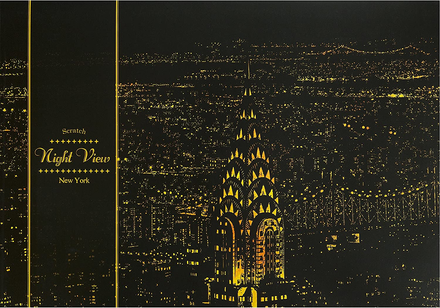 [Lago Design] World Famous Famous Famous Scratch Night View Poster_New York 134e0c