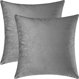 Best Mixhug Set of 2 Cozy Velvet Square Decorative Throw Pillow Covers for Couch and Bed, Grey, 18 x 18 Inches Review