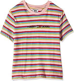 Tommy Hilfiger Women's TJW Linear Logo Stripe T-Shirt, Pink