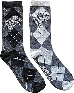 Game of Thrones Stark Argyle Men's Crew Socks 2 Pair Pack Shoe Size 6-12