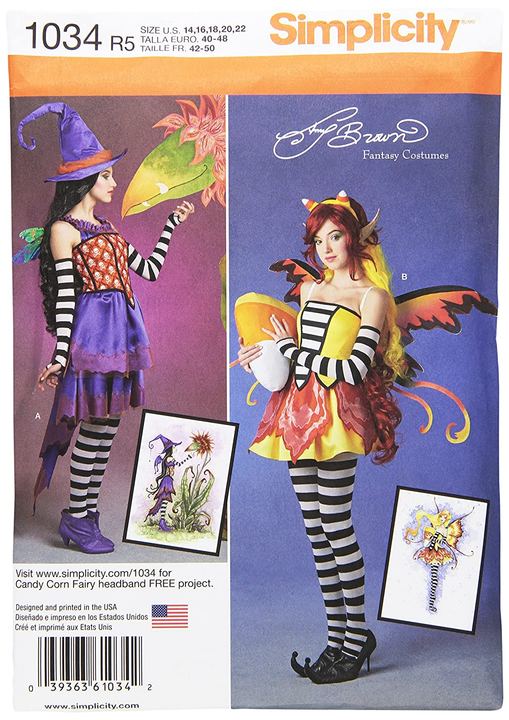 Simplicity Creative Patterns US1034R5 Misses Amy Brown Fairy Costumes, Size R5 (14-16-18-20-22)