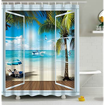 Furnily Seaside Shower Curtain for Wet Room Fabric Shower Curtain Bathroom 3D 12