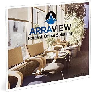 8.5 x 11 Acrylic Sign Holder Landscape Clear Wall Mount Adhesive, No Drilling, Arraview 6-pack