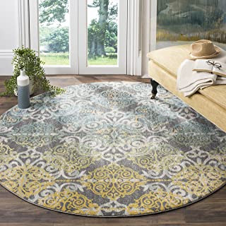 Safavieh Evoke Collection EVK230D Vintage Medallion Damask Grey and Ivory Round Area Rug..