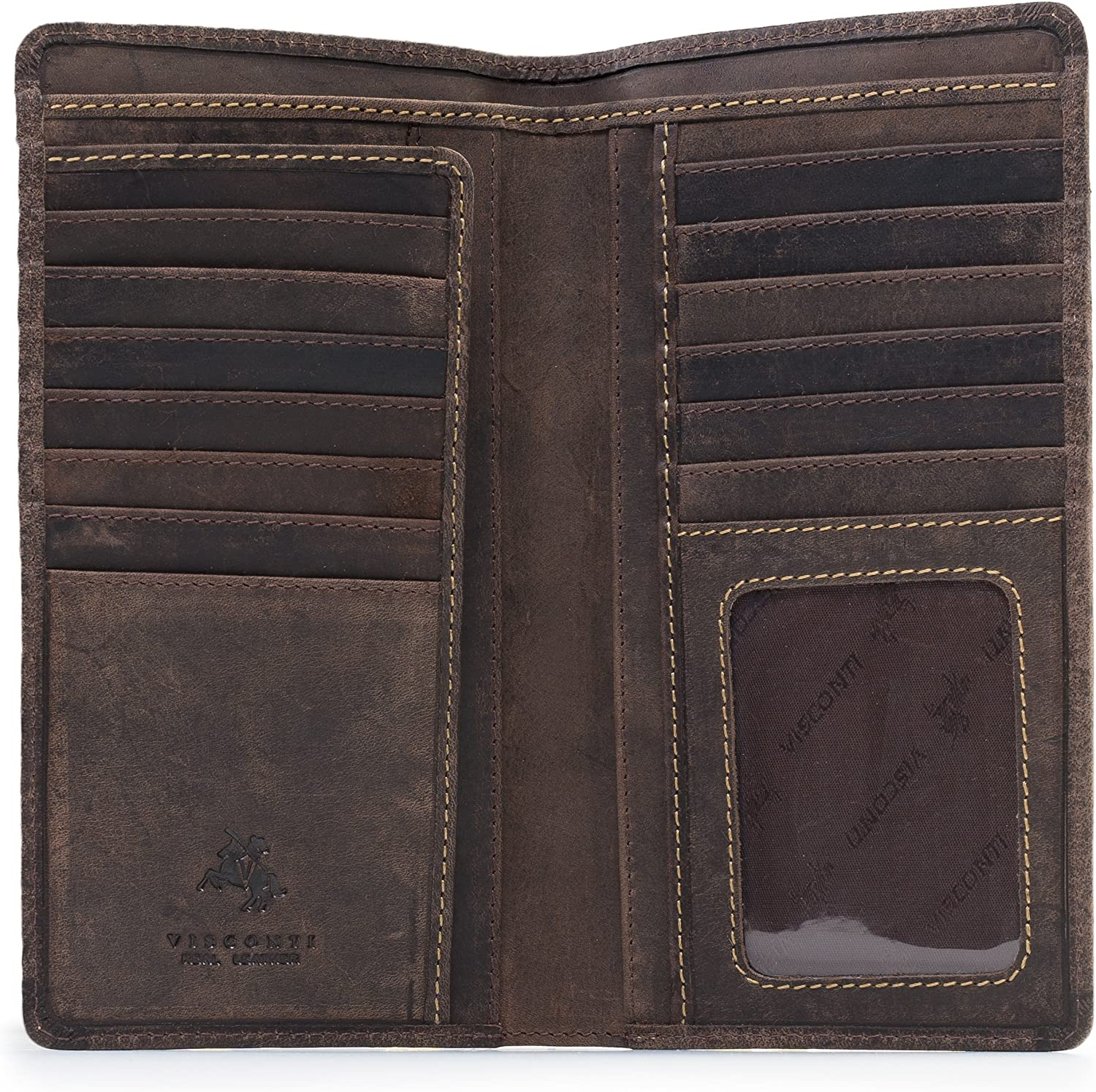 Visconti 724 Hunter Distressed Brown Leather Tall Bi-fold Wallet for Home, Business, or Travel 7