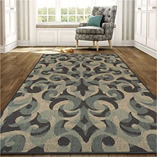 Superior Aldaine Collection 5' x 8' Area Rug, Indoor/Outdoor Rug with Jute Backing, Durable and Beautiful Woven Structure, Textured Grey, Beige, and Teal Damask Pattern