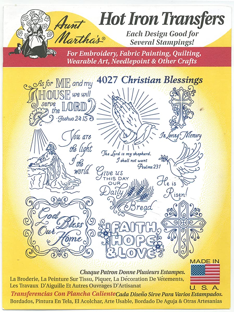 Christian Blessings Aunt Martha's Hot Iron Embroidery Transfer