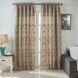 RT Designers Collection Brett Floral Embroidered 54 x 84 in. Rod Pocket Single Curtain Panel w/Attached Valance, Taupe, 54