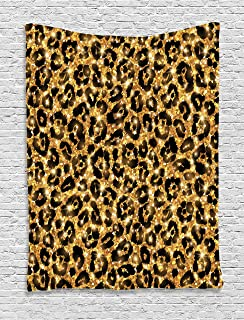 Ambesonne Safari Tapestry, Leopard Skin Pattern with Gold Shines Feminine Sexy Rosettes Safari Themed Image, Wall Hanging for Bedroom Living Room Dorm Decor, 40