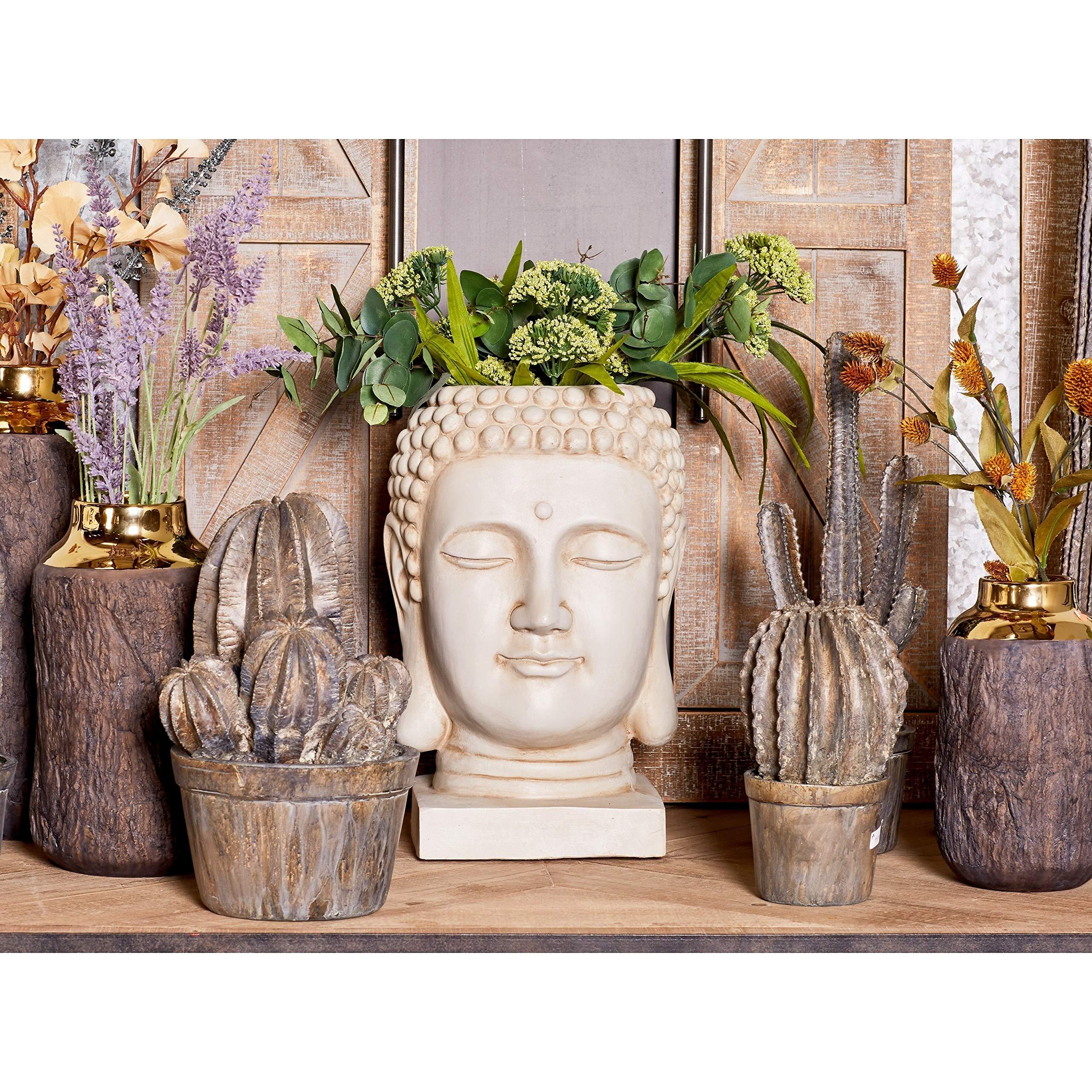 MISC Buda Maceta de Flores Blancas, estatuas de jardín, temática Espiritual, Yoga, Monje, meditación, Budismo, Tallado de Salvia, Guerrero, meditador, decoración del hogar, Piedra: Amazon.es: Hogar